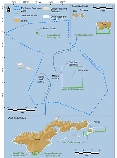 map showing the boundaries of National Marine Sanctuary of American Samoa