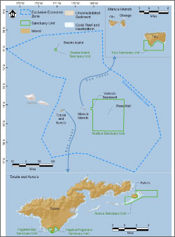 map of the national marine sanctuary of american samoa